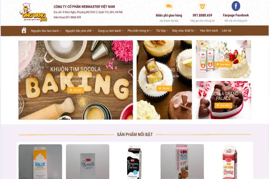 Mẫu website - Ong vàng giải pháp ngành bánh