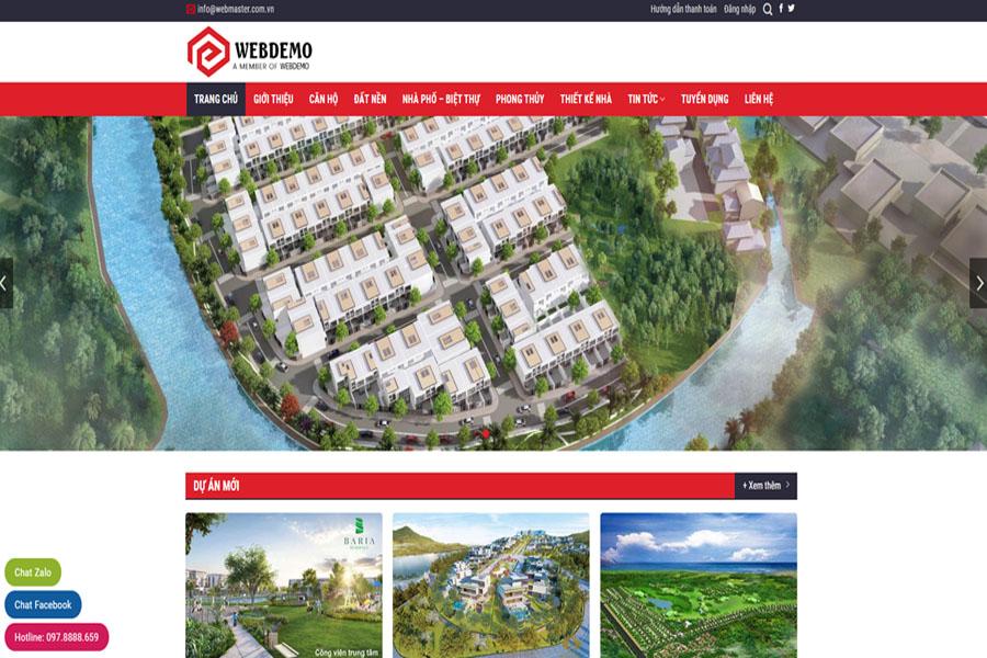 Mẫu website bất động sản WEBDEMO
