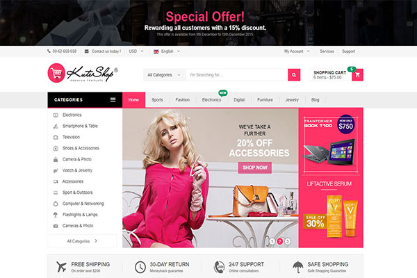 Webmaster Retail 10 - KuteShop Online - Multipurpose Ecommerce Template