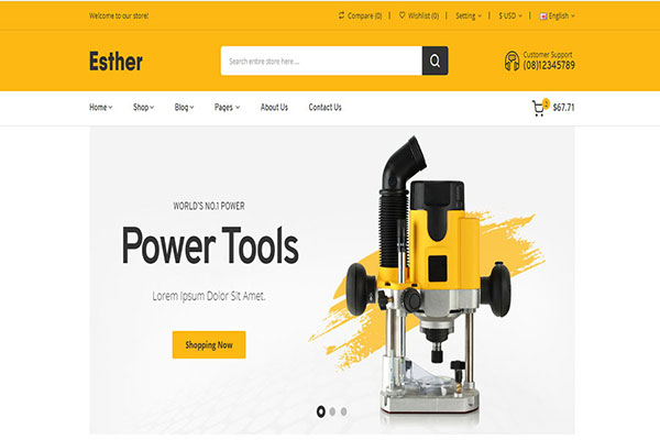 Webmaster Retail 07 -  Esther  - Tools & Accessories Store HTML Template