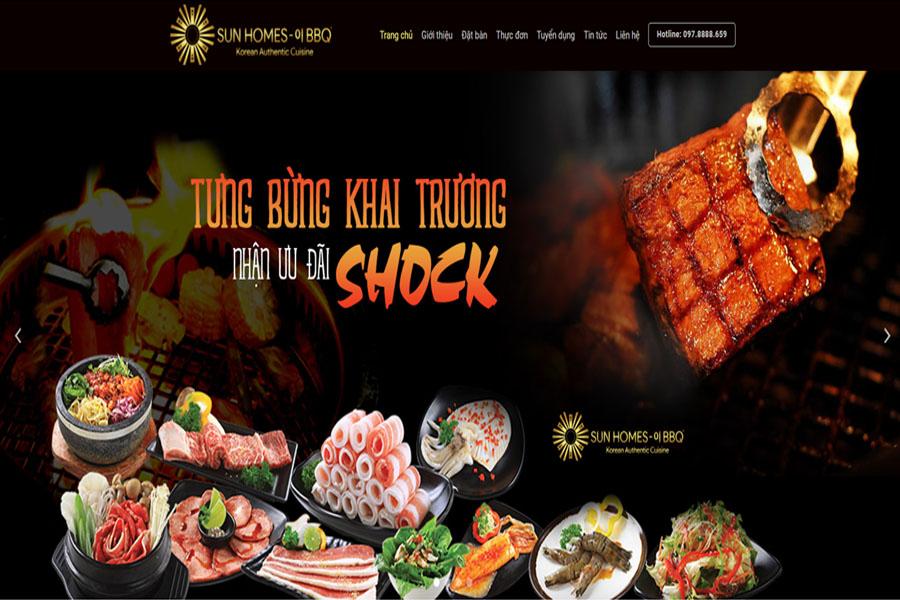 Sun Homes BBQ- Website nhà hàng thịt nướng Hàn Quốc