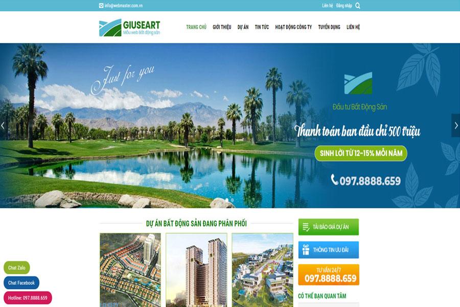 GUISEART - Mẫu website chuẩn seo bất động sản